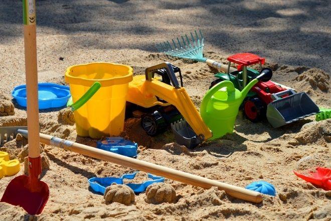 Sandkasse legetøj, spand, skovl, gravemaskine